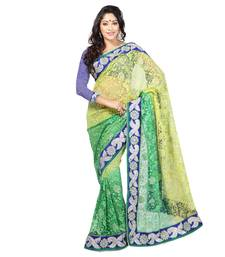 Buy  green embroidered Net saree with blouse half-saree online