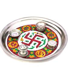 Buy Meenakari Shubh Laabh Designer Swastik Pooja Thali Deepawali Gift 415 diwali-puja-thali online