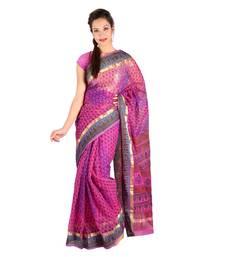 Buy Floral Lehariya Designer Magenta Kota Doria Saree Deepawali Special Gift 229 diwali-sarees-collection online