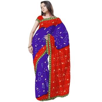Ethnic Tie n Dye Exclusive Chiffon Purple Saree Diwali Special Gift 182