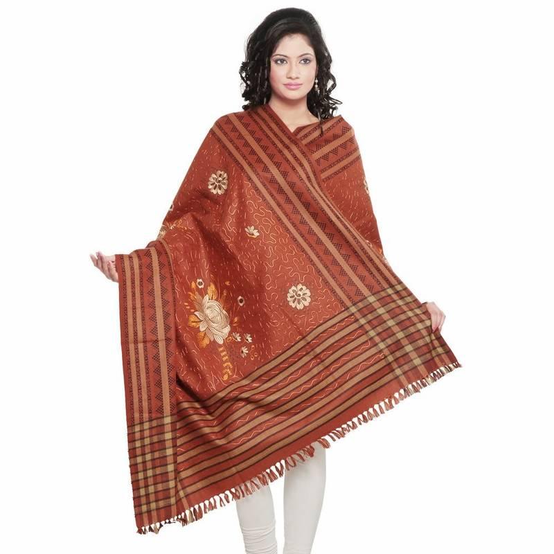 Buy Embroidered Stripes N Floral Design Kashmiri Shawl