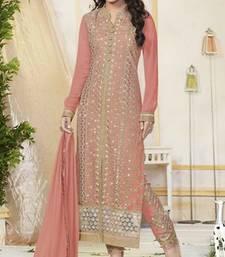 Buy Peach Pure Georgette Dress Material party-wear-salwar-kameez online