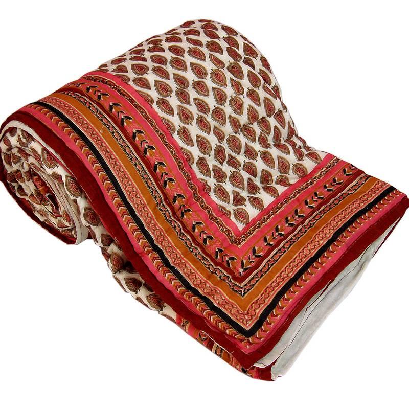 Buy Jaipuri Gold Print Cotton Double Razai Quilt 304 Online