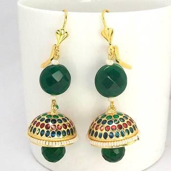 Meenakari Tokri Stone Earring Green Maroon Dots