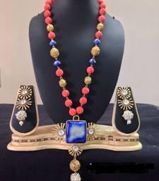 Buy CORAL SEMI PRECIOUS NECKLACE SET necklace-set online