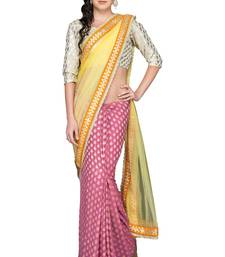 Buy Yellow woven georgette saree with blouse net-saree online