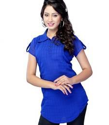 Buy Blue Printed Georgette Cape Sleeve Kurti tunic online