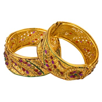 Golden free size bangle set