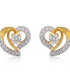 Buy Curvy Heart Gold Plated Stud Earrings for Women ER1100538G stud online
