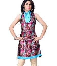 Buy Multi Printed Jacquard Sleeveless Kurti kurtas-and-kurti online