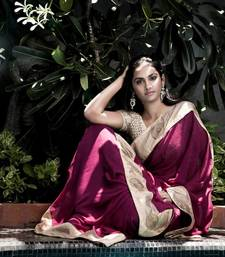 Buy The Dark Beauty Crochet Party Wear Saree | Purple georgette-saree online