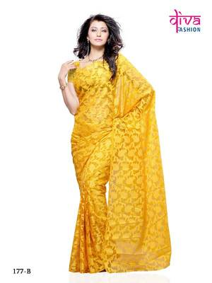 Glamorous Fancy Party/Office wear Saree made from Brasso & Net (dual fabric) by Diva Fashion, Surat