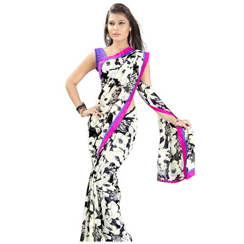 TopDeals Casual Wear White & Black Colored Georgette Saree With Unstitched Blouse
