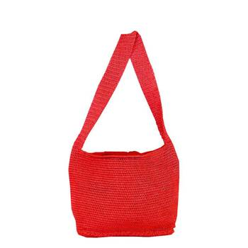 Ajar Crochet Shoulder Handbag | Peach