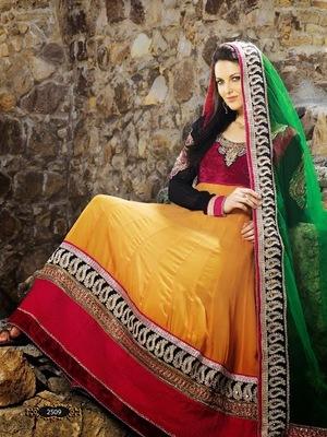 Extravagant Attractive Maroon & Yellow Kaju Style Anarkali Suit