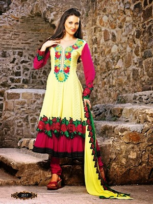 Sparkling Splenderous Yellow with Stupefying Pink Thread  embroidery Anarkali Suit