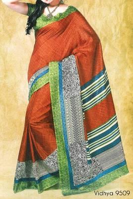 Fancy Cotton Saree Sari - Printed Saree - With blouse - 902631 9509