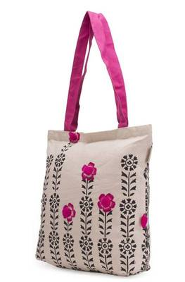 Accrue Tote with black prints and pompom balls