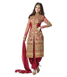 Buy Red Georgette Embroidered Salwar Suit wedding-salwar-kameez online