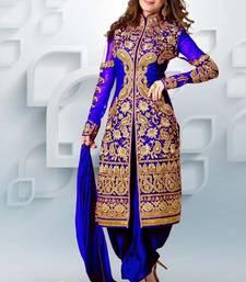 Buy Blue Georgette Embroidered Salwar Suit wedding-salwar-kameez online