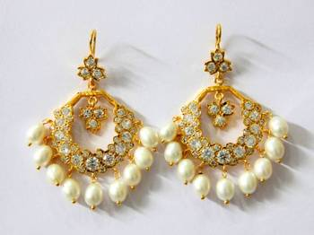 BEAUTIFUL STONE STUDDED CHAND BALI