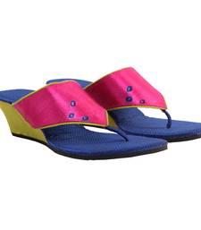 Buy Bandhej Silk Rani PArrot Green Wedges eid-footwear online