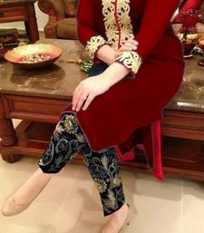 Buy Red embroidered Georgette unstitched salwar with dupatta hot-deal online