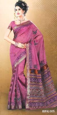 Embroidered Cotton Saree - Printed cotton Sari - Exclusive Designer Saree - Ethnic Border - 902633 005
