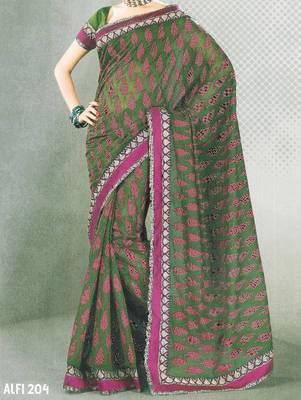 Designer cotton saree - printed cotton sari - exclusive designer saree - ethnic border - 902634 204