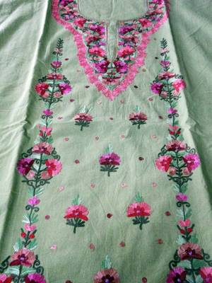 kashmir aari embroidered dress material in green with matching dupatta