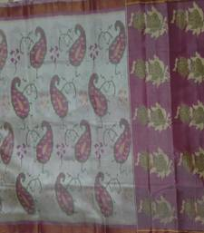Buy off white and pink hand_woven silk saree with blouse silk-saree online