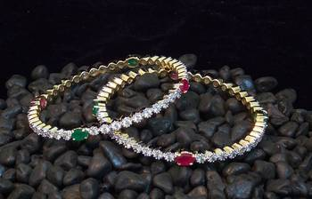 Beautiful and elegant zircon ruby emrald  bangles