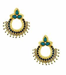 Buy Turquoise Blue Designer Dangle Earrings Jewellery for Women - Orniza danglers-drop online