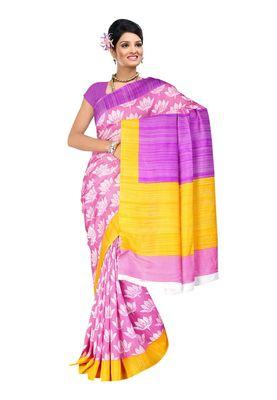 Fabdeal Pink & Purple Bhagalpuri Silk Printed Saree With Blouse Piece