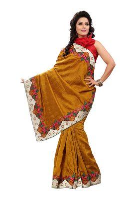 Fabdeal Mustered Bhagalpuri Jacquard Silk Saree With Blouse Piece