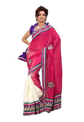 Fabdeal Pink & White Banarasi Jute Silk Saree With Blouse Piece
