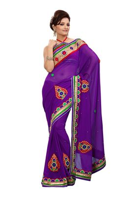 Fabdeal Purple Marble Chiffon Saree With Blouse Piece