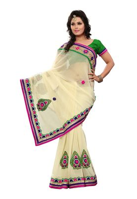Fabdeal Off White Chiffon Saree With Blouse Piece