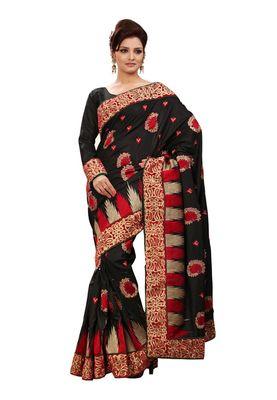 Fabdeal Black & Red Manipuri Silk Saree With Blouse Piece