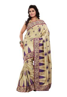 Fabdeal Wheat & Purple Manipuri Silk Saree With Blouse Piece