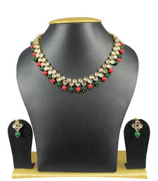 Buy Simple and Trendy Kundan Necklace Set In Maroon and Green necklace-set online