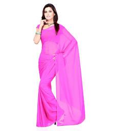 Buy Magenta plain georgette saree with blouse below-400 online