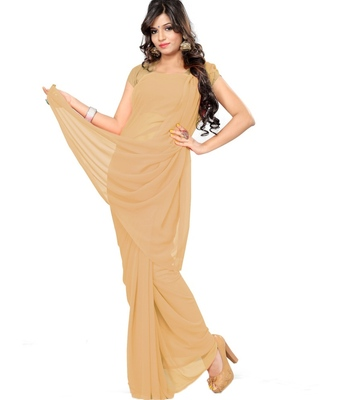 Chickoo plain georgette saree with blouse