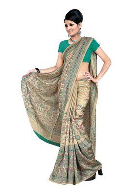 Fabdeal Green Pashmina Silk Printed Saree With Blouse Piece