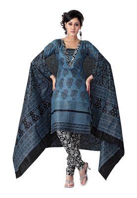 Cotton Bazaar Casual Wear Blue Colored Cotton Dress Material