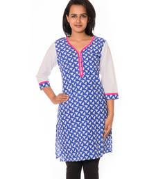 Buy Blue  Printed Cotton straight kurti kurtas-and-kurtis online