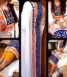 Buy White  embroidered Cotton semi stitched salwar with dupatta cotton-salwar-kameez online