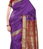 Buy Purple Border Worked Art Silk Saree With Blouse