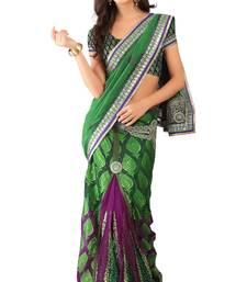 Buy Green Embroidered Chiffon,Brasso Lehenga Saree With Blouse lehenga-saree online