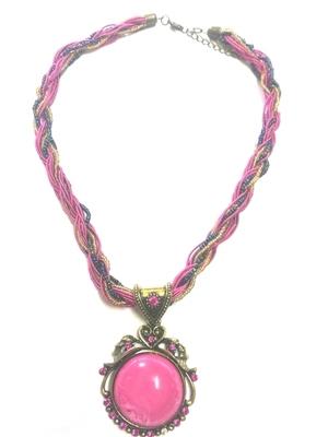 Gorgeous pink mala with stone studded pendant